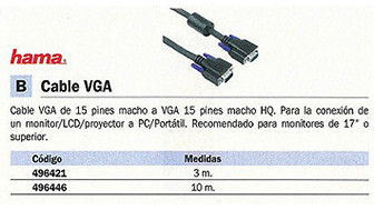 496421: Imagen de HAMA CABLE VGA 15 PI