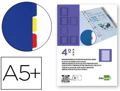 4º ENVASE DE 10 UNIDADES 10 UD SEPARADOR LIDERPAPEL PLASTICO JUEGO DE 5 SEPARADORES CUARTO 11 TALADROS