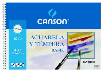 GUARRO CANSON PAPEL ACUARELA 10 HOJAS A3+ 370 G 200400697