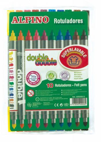 ALPINO ROTULADOR ALPINO DOUBLE DOUBLEPUNTA GRUESA Y PUNTA FINA CAJA DE 10 COLORES AR000013