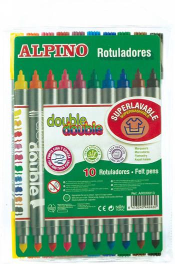 ALPINO ROTULADOR ALPINO DOUBLE DOUBLEPUNTA GRUESA Y PUNTA FINA CAJA DE 20 COLORES AR000058