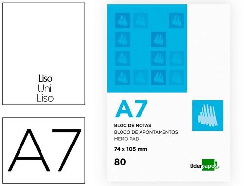 Blocs de notas ENVASE DE 10 UNIDADES BLOC NOTAS LIDERPAPEL LISO A7 80 HOJAS 60G/M2 PERFORADO
