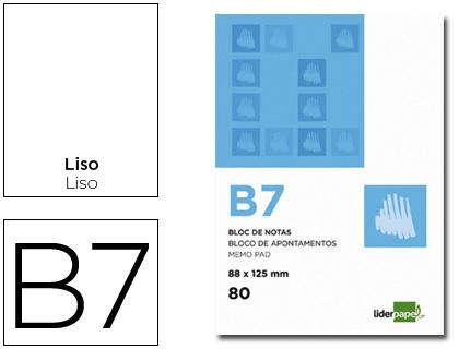 Blocs de notas ENVASE DE 10 UNIDADES BLOC NOTAS LIDERPAPEL LISO B7 80 HOJAS 60G/M2 PERFORADO