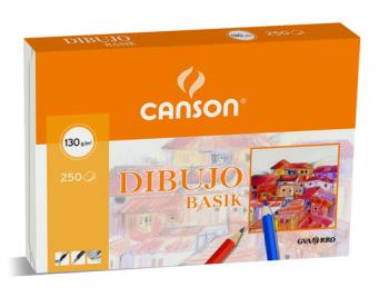 ENVASE DE 250 UNIDADES CANSON PAPEL DIBUJO BASIK 23X32.5 130 GR CON RECUADRO 200400738