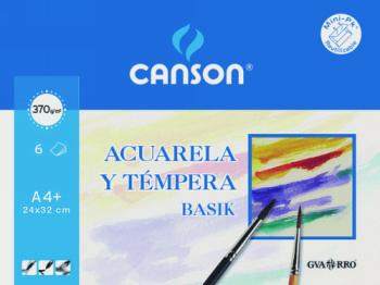 PAPEL ACUARELA BASIK CANSON DIN A4 370 GR PACK DE 6 HOJAS 24 X 32 CM 200406347