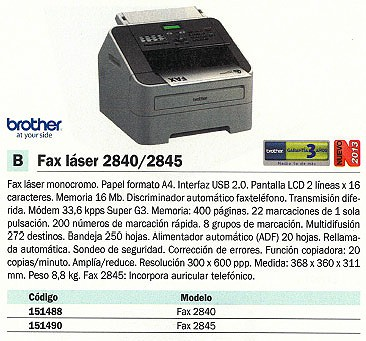 BROTHER FAX TERMICO T104 TELÉFONO COPIADORA FAXT104
