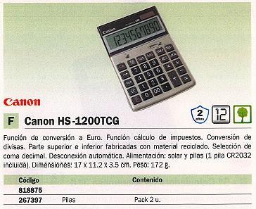 Calculadoras de sobremesa CANON CALCULADORA SOBREMESA HS-1200 TCG 12 DIGITOS SOLAR 2500B004