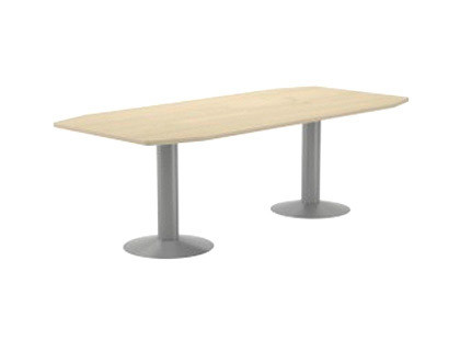 MESA DE REUNION ROCADA MEETING 3003AT04 ESTRUCTURA COLUMNA DOBLE ACERO GRIS TABLERO MADERA BLANCO