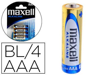 Baterias PILA MAXELL ALCALINA 1 5 V TIPO AAA LR03 BLISTER DE 4 UNIDADES