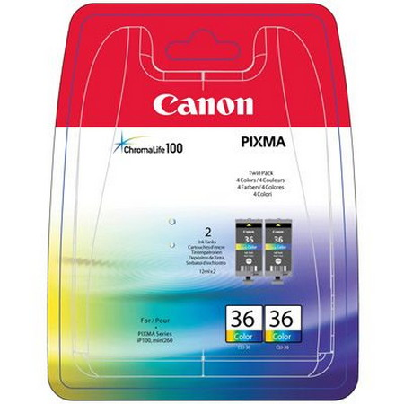 PACK DE 3 CARTUCHOS DE TINTA COLOR TWIN PACK CANON CLI-36