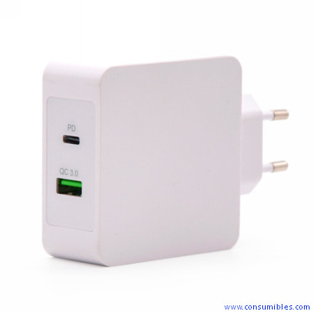 TOOQ / CARGADOR DE PARED / 1 X USB-C POWER DELIVERY + 1 X USB -A QUICK CHARGE 3.0 / BLANCO