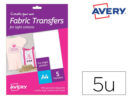 PAPEL TRANSFER AVERY PARA CAMISETAS ALGODON COLOR BLANCO INK-JET DIN A4 PACK DE 5 HOJAS