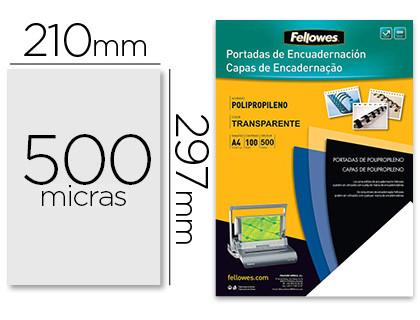 FELLOWES PACK DE 100 PORTADAS PP TRANSPARENTE 450 MICRAS