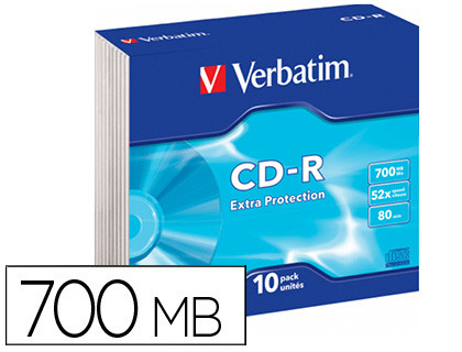 CD-R Datalife Extra Protection Slim pack 10 unidades 52x 700 Mb 80 min 43415