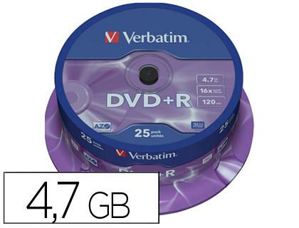 DVD+ R Advanced AZO bobina pack 25 unidades 16x 4 7Gb 120 min 43500