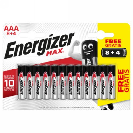 Baterias BLISTER 8 + 4 PILAS MAX TIPO LR03 (AAA) ENERGIZER