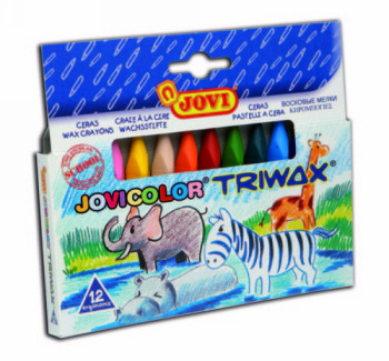 LAPICES CERA JOVICOLOR TRIANGULAR TRIWAX 12 COLORES 973/12