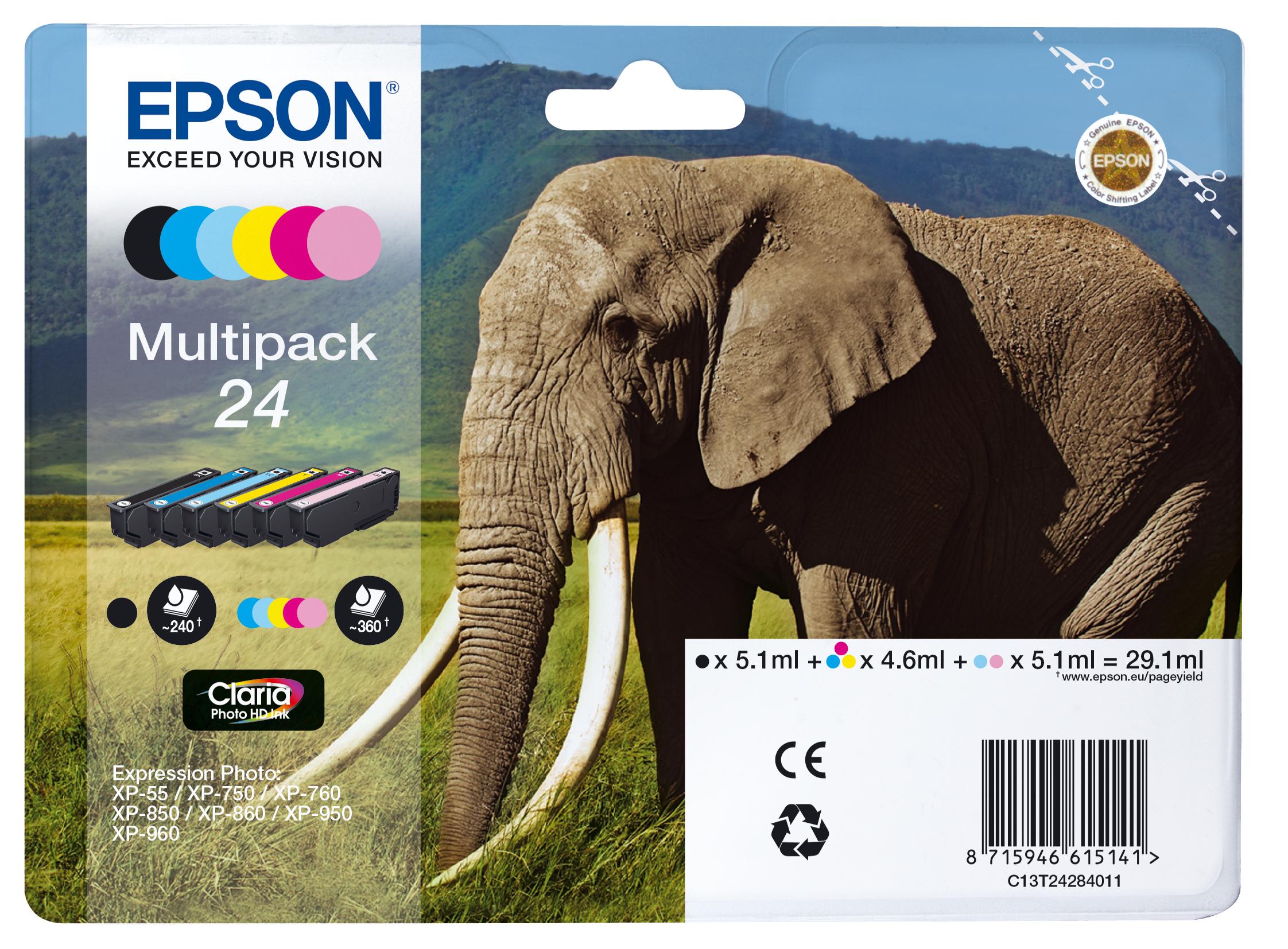Multipack negro / cian / magenta / amarillo / Cian (claro) / Magenta (claro) C13T24284011 T2428 6 Cartuchos de tinta: T2421-T2426