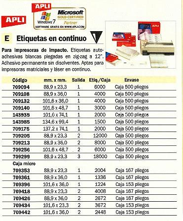 APLI ETIQUETAS EN CONTINUO 3672 UD 101,6X23,3 CAJA 153 PLIEGOS 1022