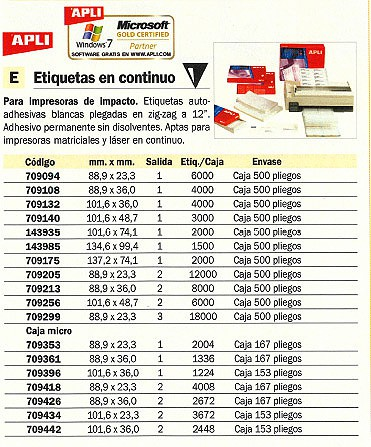 Comprar Etiquetas para impresoras inkjet 709175 de Apli online.
