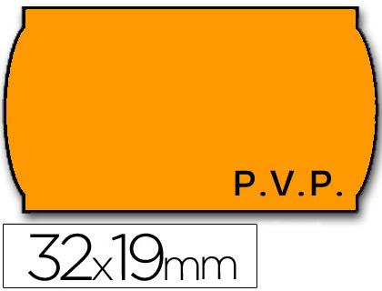 Etiquetas ETIQUETAS METO ONDULADAS 32 X 19 MM PVP FN. ADH 2 -FLUOR NARANJA -ROLLO 1000 ETIQUETAS