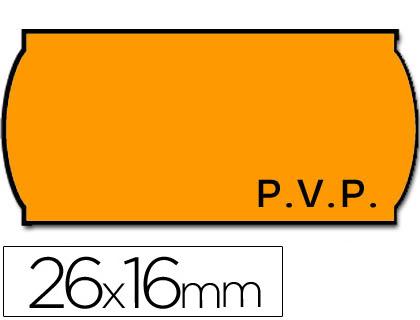 Etiquetas ETIQUETAS METO ONDULADAS 26 X 16 MM PVP FN. ADH 2 -FLUOR NARANJA -ROLLO 1200 ETIQUETAS