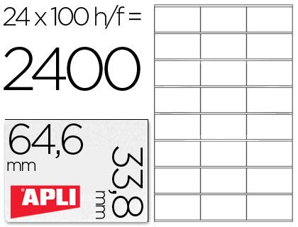 APLI ETIQUETAS ILC CAJA 100 HOJAS 2400 UD 64,6 X 33,8 BLANCAS 1263
