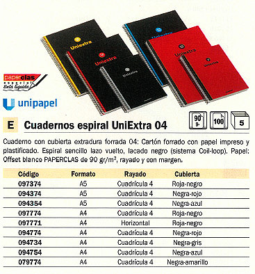 Comprar Cuadernos con espiral 094374 de Uni-Extra online.