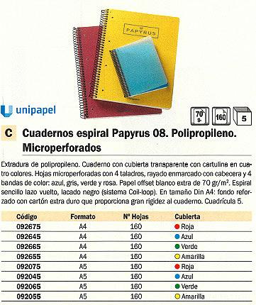 ENVASE DE 5 UNIDADES PAPYRUS CUADERNO POLIPROPILENO 08 160H 4º CUADRICULA 5X5 AZUL P4004303<BR>ARTÍCULO A EXTINGUIR CONSULTAR DISPONIBILIDAD