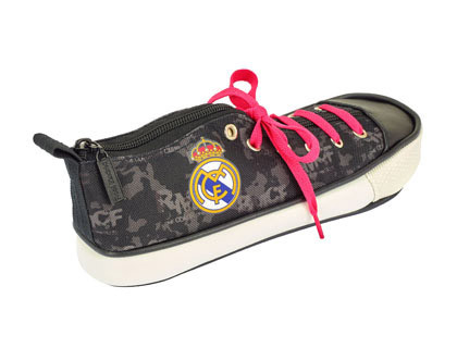 BOLSO ESCOLAR SAFTA ESTUCHE REAL MADRID BLACK ZAPATILLA 240X85X80 MM