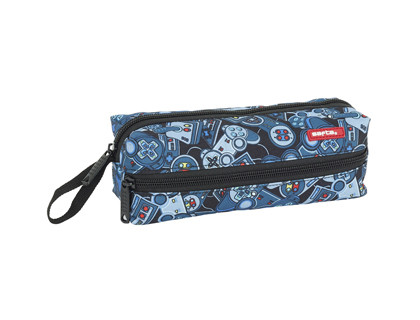 BOLSO ESCOLAR SAFTA PORTATODO SAFTA WELCOME GAMERS BLUE 3 CREMALLERAS 200X80X70 MM