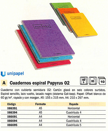 ENVASE DE 10 UNIDADES PAPYRUS CUADERNO 02 80H A5 CUADRICULA 4X4 SURTIDO 086394<BR>ARTÍCULO A EXTINGUIR CONSULTAR DISPONIBILIDAD