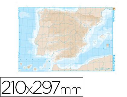 Mapas mudos ENVASE DE 100 UNIDADES100 UD MAPA MUDO B/N DIN A4 ESPAÑA FISICO