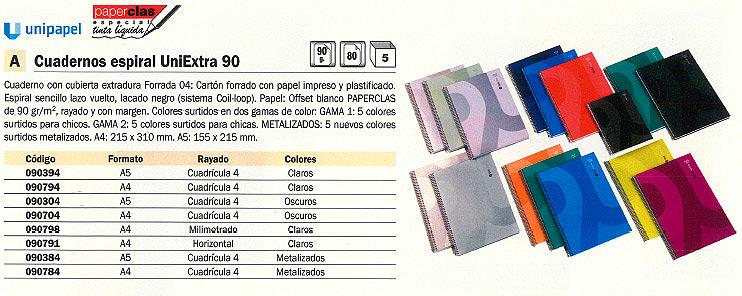 Comprar Cuadernos con espiral gama escolar 090384 de Uni-Extra online.