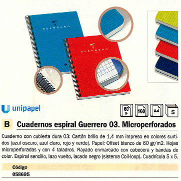 Comprar Cuadernos con espiral gama escolar 090394 de Uni-Extra online.