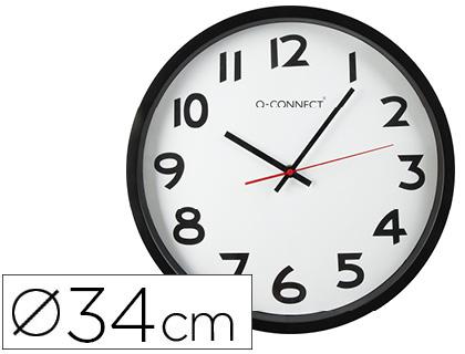 De pared RELOJ Q-CONNECT DE PARED PLASTICO BS-OFICINA REDONDO 38 CM -MARCO NEGRO