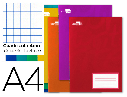 Libretas escolares ENVASE DE 10 UNIDADES LIBRETA LIDERPAPEL WRITE A4 32 HOJAS 60G/M2 CUADRO 4MM CON MARGEN