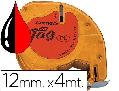 DYMO LETRATAG CINTAS 91203 12 MM X 4 M NEGRO/ROJO CASETES INTERCAMBIABLES. S0721630