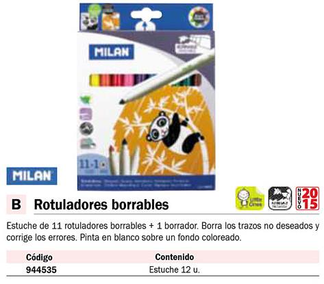 MILAN CAJA 11 ROTULADORES BORRABLES+1 ROTULADOR BORRADOR QUE PINTA BLANCO SOBRE COLOR 80093