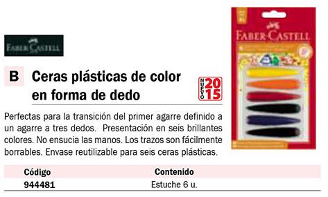 FABER CASTELL BLISTER CON 6 CERAS PLASTICAS SURTIDAS DE COLOR CON FORMA DE DEDO PARA NIÑOS. 120404