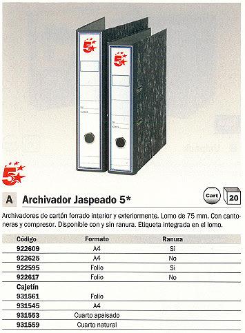 ENVASE DE 20 UNIDADES 5 STAR ARCHIVADOR PALANCA A4 LOMO 75 MM JASPEADO GRIS 931567