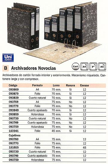 Din A4 ENVASE DE 12 UNIDADES UNISYSTEM ARCHIVADOR PALANCA NOVOCLAS A4 LOMO 70MM JASPEADO 093869