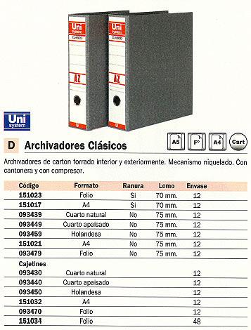 Comprar Archivadores carton 151017(1/12) de Unisystem online.
