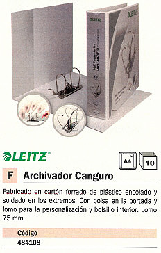 ESSELTE ARCHIVADOR PALANCA PERSONALIZABLE CANGURO A4 LOMO 75 MM BLANCO 42250001