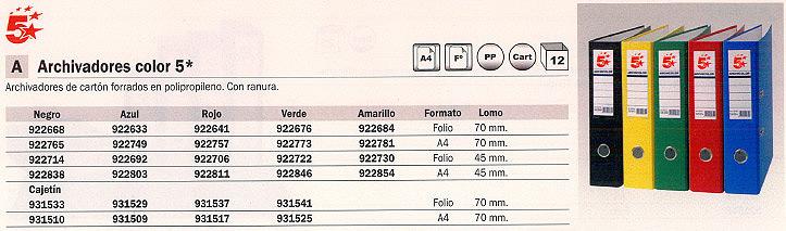 ENVASE DE 12 UNIDADES 5 STAR ARCHIVADOR PALANCA A4 LOMO 45 MM AMARILLO 23257
