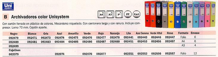 Comprar Archivadores color 092489 de Unisystem online.