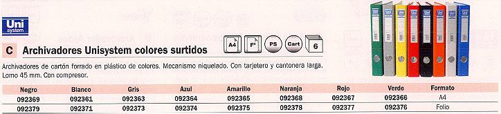 Din A4 ENVASE DE 6 UNIDADES UNISYSTEM ARCHIVADOR PALANCA A4 LOMO ESTRECHO AMARILLO 092365