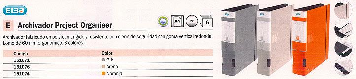 ENVASE DE 6 UNIDADES ELBA ARCHIVADOR PROJECT ORGANISER A4 LOMO 60MM ARENA 100025314