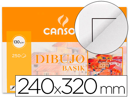ENVASE DE 10 UNIDADES CANSON BLOC DE DIBUJO 12 HOJAS 24X32 CM A4+RECUADRO 200406346