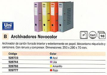 Folio ENVASE DE 10 UNIDADES UNISYSTEM ARCHIVADOR PALANCA NOVOCOLOR FOLIO 350X290X70MM LILA 9190701<BR>ARTÍCULO A EXTINGUIR CONSULTAR DISPONIBILIDAD